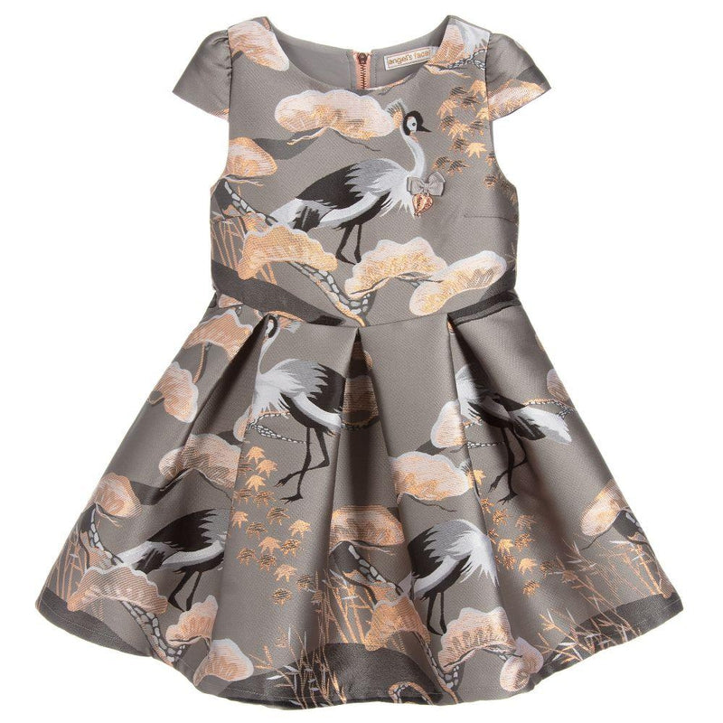 Girls Grey & Blush Pink Heron Dress