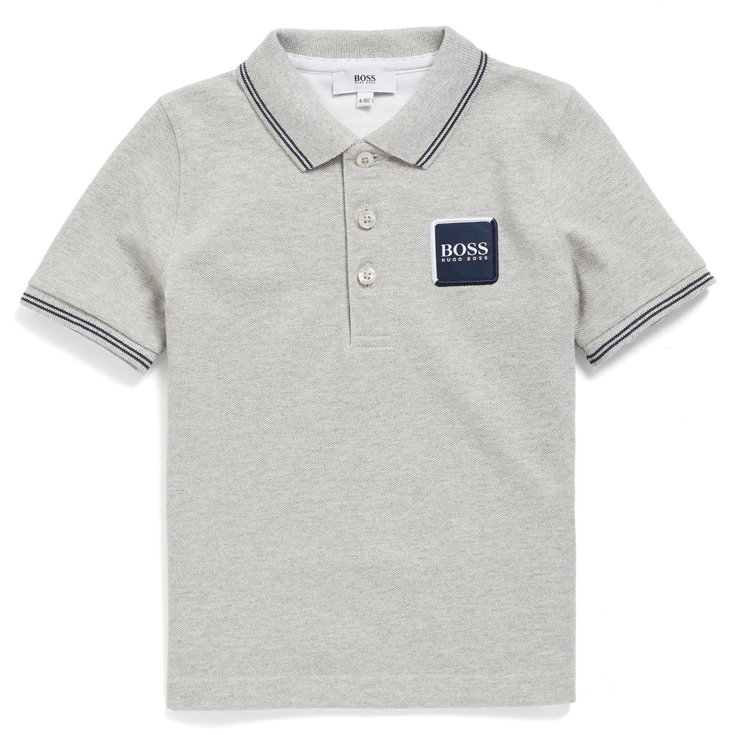 Baby Boys Grey Cotton Logo Polo Shirt