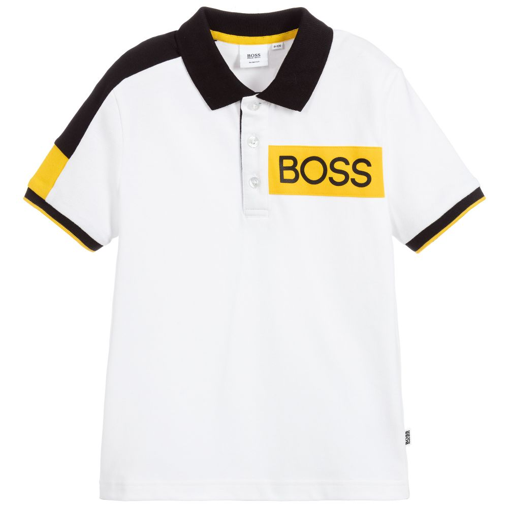 Boys White Cotton Logo Polo Shirt