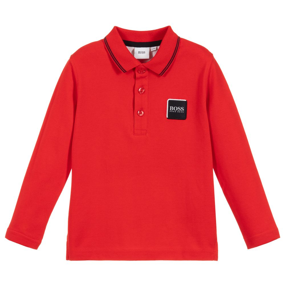 Boys Red Cotton Logo Polo Shirt