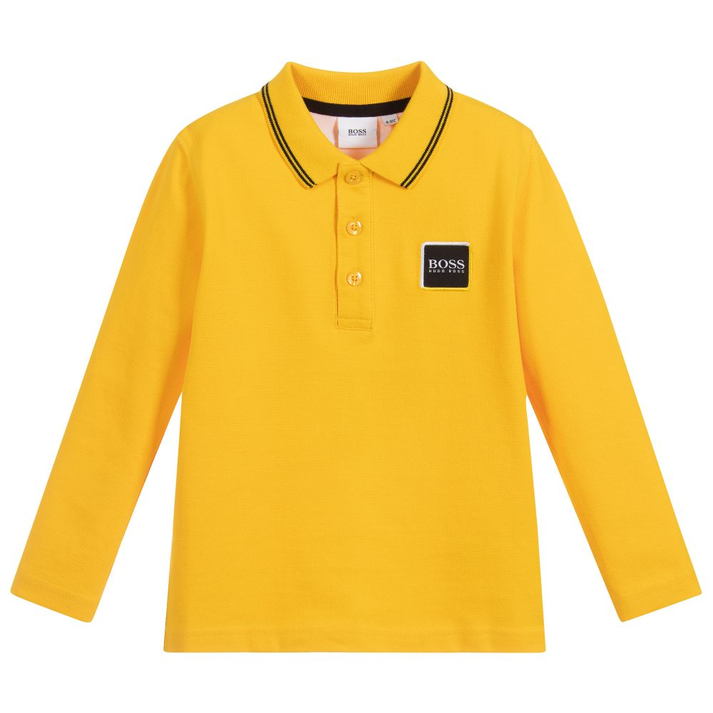Boys Yellow Cotton Logo Polo Shirt