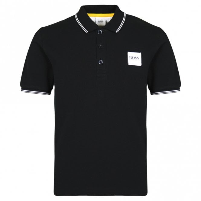 Boys Black Cotton Logo Polo Shirt