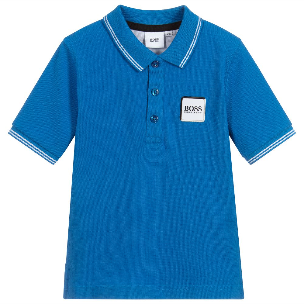 Boys Blue Cotton Logo Polo Shirt