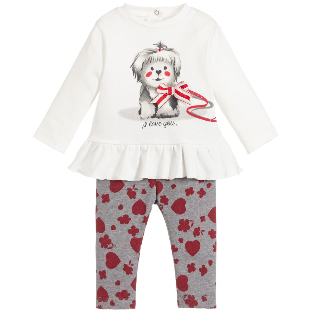 Baby Girls Ivory & Grey Leggings Set
