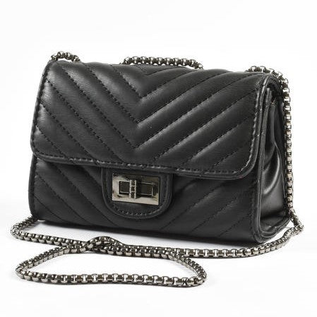 Girls Black Faux Leather Handbag