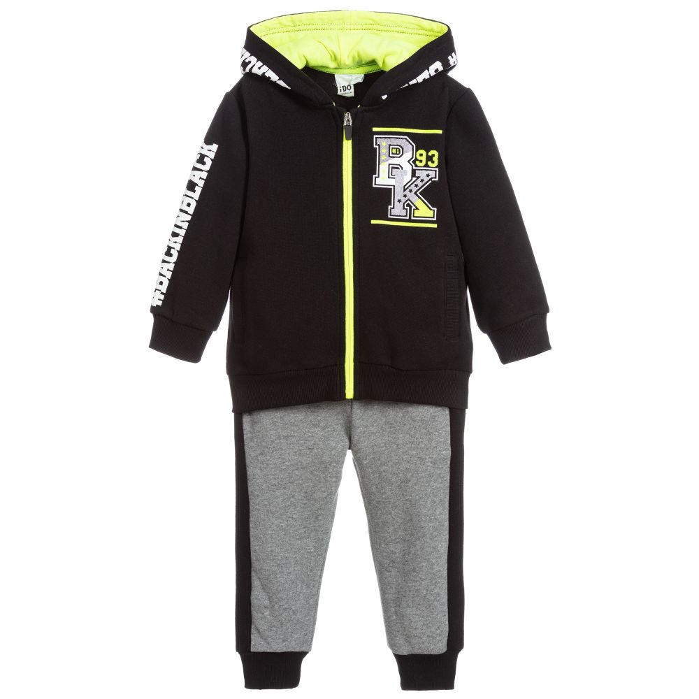 Boys Black & Grey Tracksuit