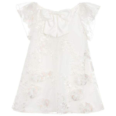 Girls Ivory Flutter Sleeve Dress - Junior Couture