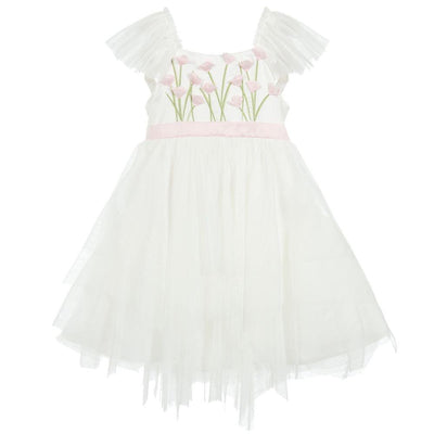 Girls Ivory Spring Gardens Tulle Dress - Junior Couture