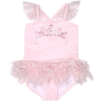 Girls Pink Tulle Crown Swimsuit - Junior Couture