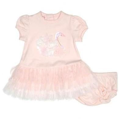 Baby Girls Pink Swan Dress - Junior Couture
