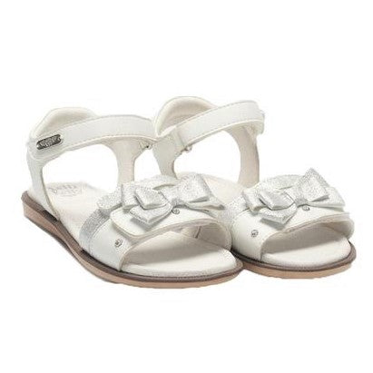Girls White Bow Sandals