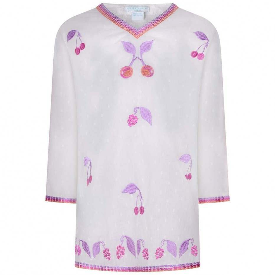 White & Pink Cherries Kaftan
