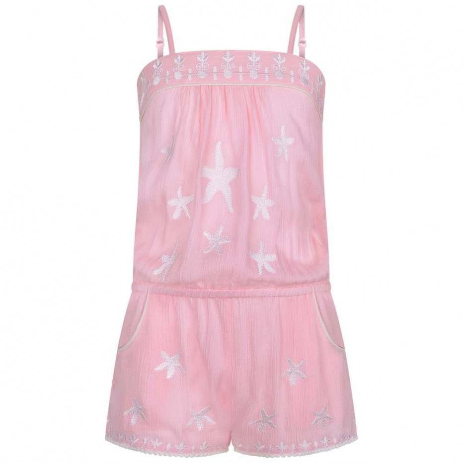 Girls Pink Coral Star Playsuit