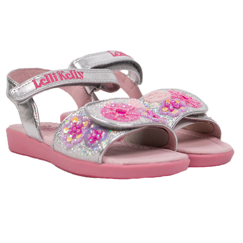 Girls Glitter Silver and Pink Sandals