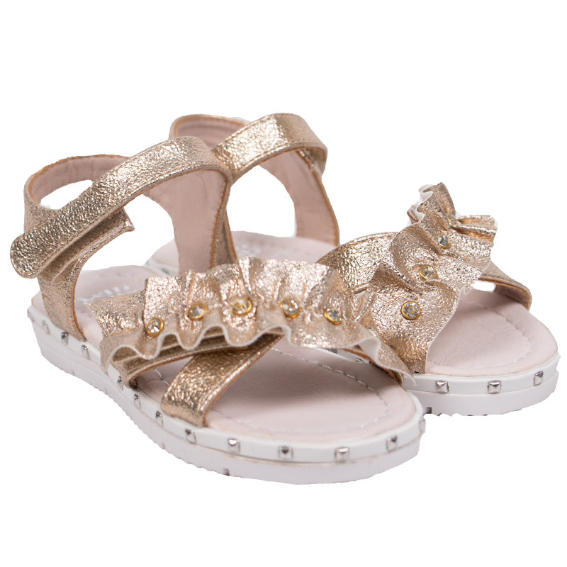 Girls Metallic Gold Sandals