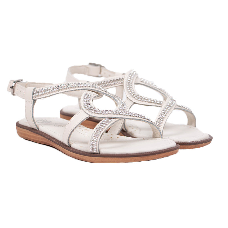 Girls White Diamante Sandals