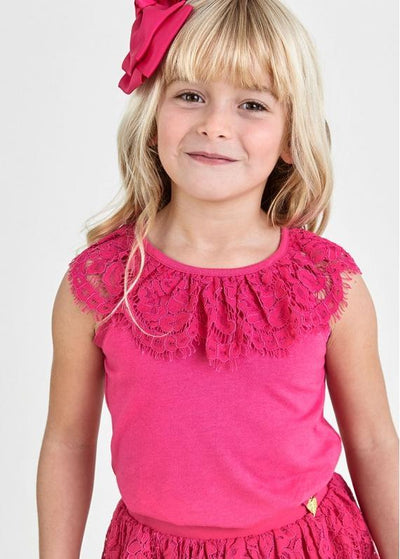 Girls Lucille Fuchsia Pink Lace Top - Junior Couture
