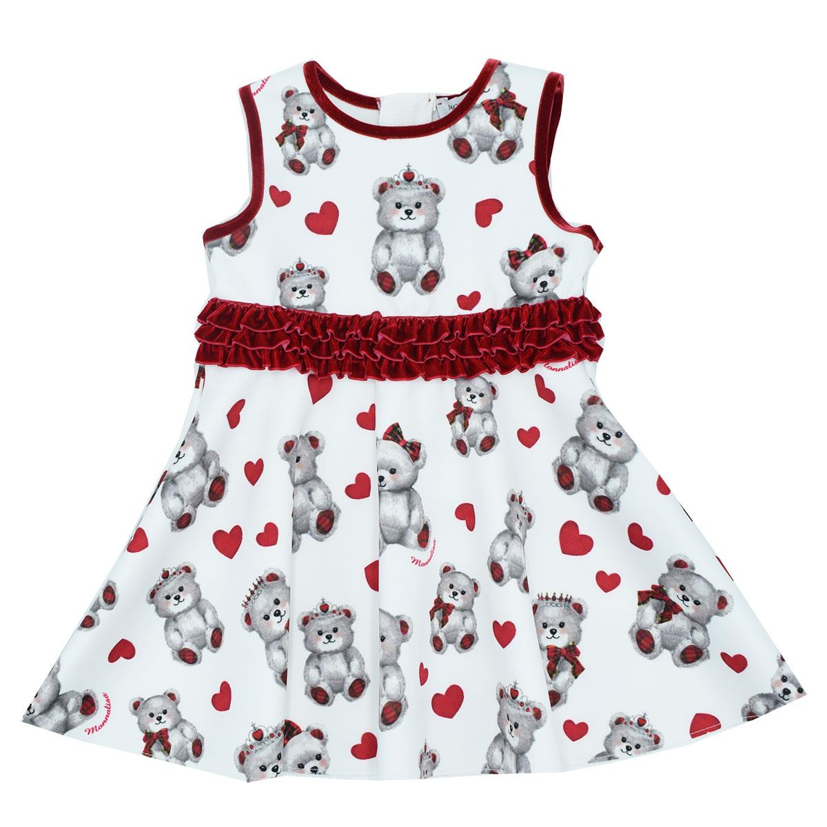 Baby Girls White & Red Printed Dress
