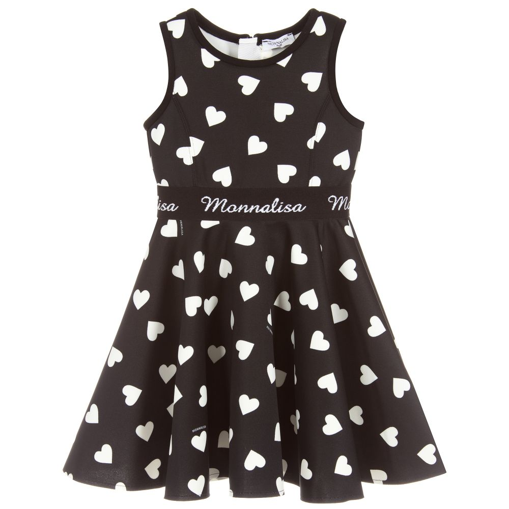 Girls Black & White Heart Print Dress