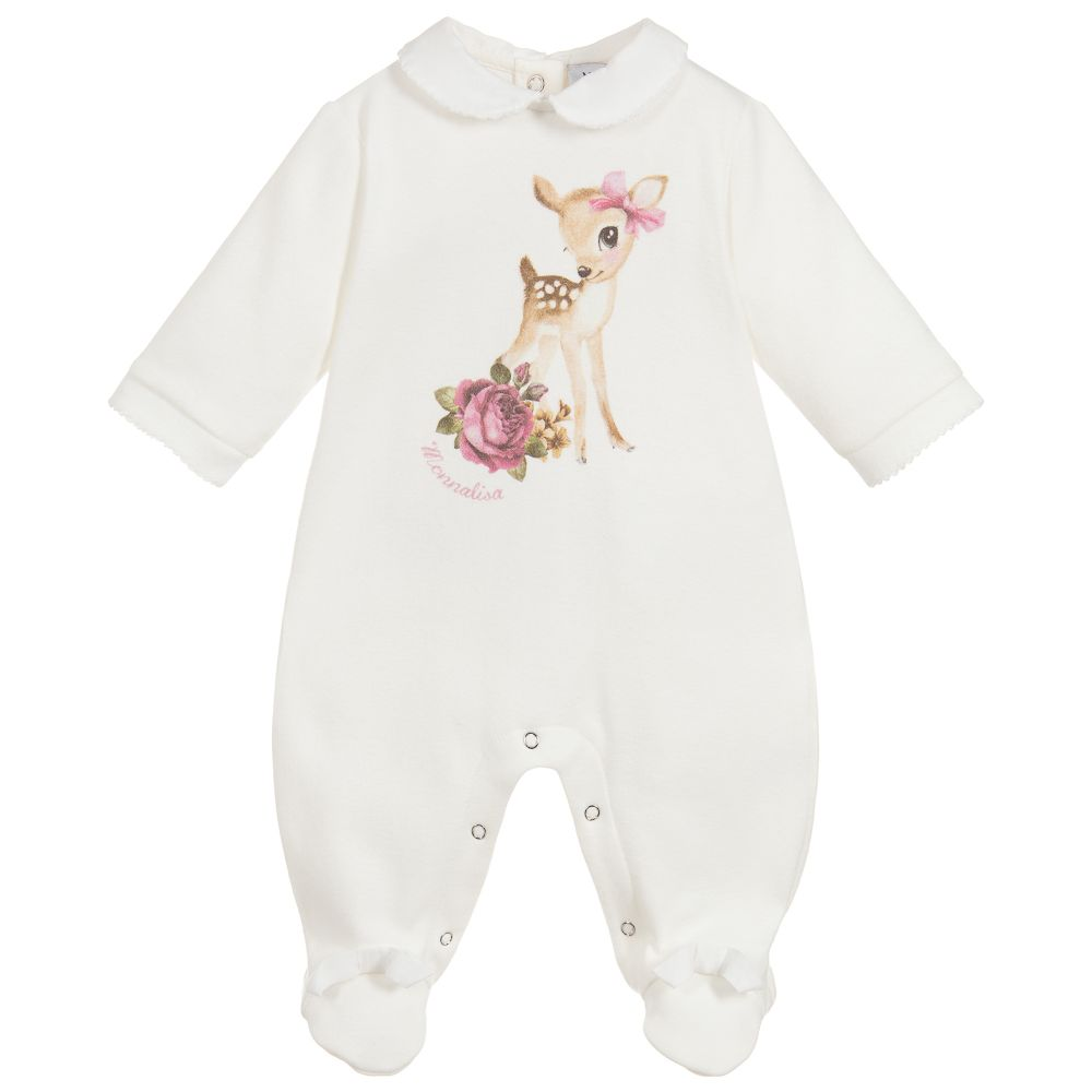 Baby Girls Ivory Cotton Babygrow