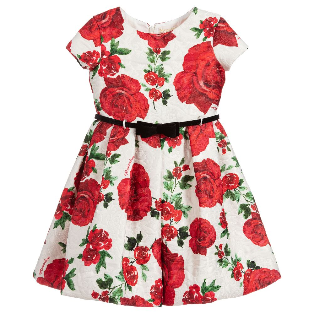 Girls Ivory & Red Floral Dress