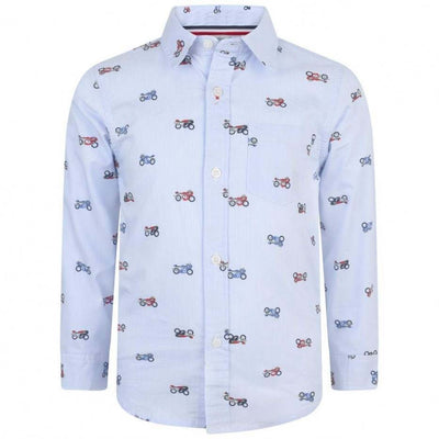 Boys Blue Striped Motorcycle Print Shirt - Junior Couture