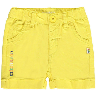 Boys Yellow Cotton Twill Shorts - Junior Couture