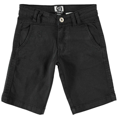 Boys Black Stretch Cotton Shorts