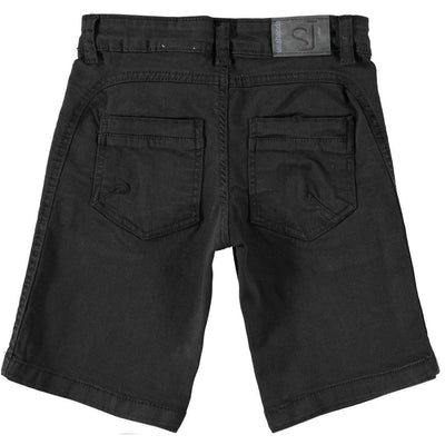 Boys Black Stretch Cotton Shorts - Junior Couture