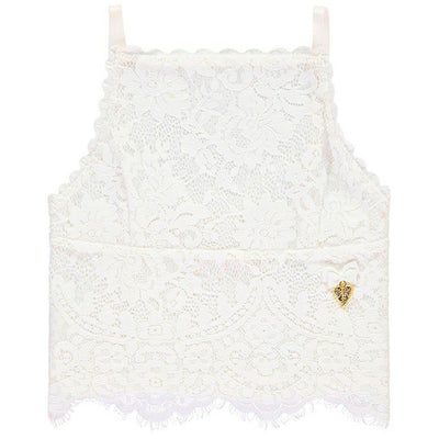 Girls Annie Snowdrop White Lace Top - Junior Couture