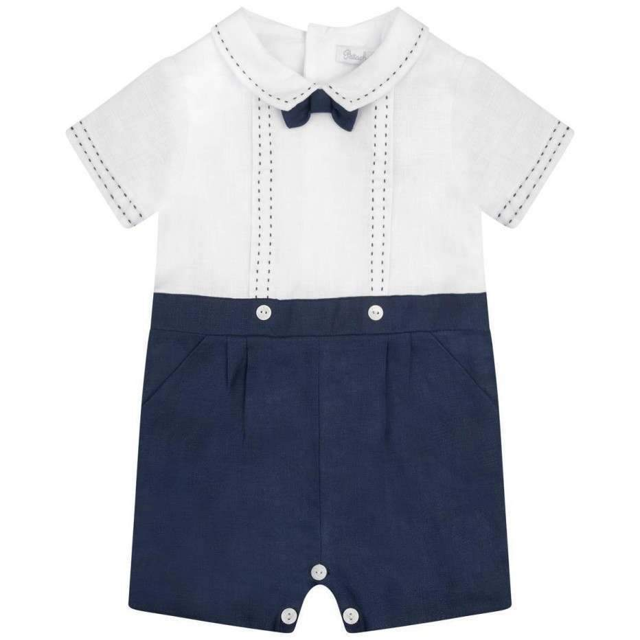 Baby Boys Navy Blue Linen Shortie - Junior Couture