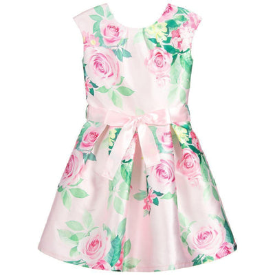 Girls Pink Floral Satin Dress - Junior Couture