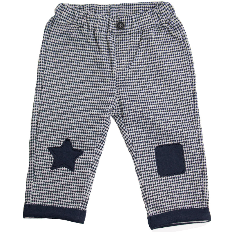 Baby Boys Navy Check Trousers