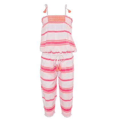 Girls Pink Multistripe Jumpsuit - Junior Couture