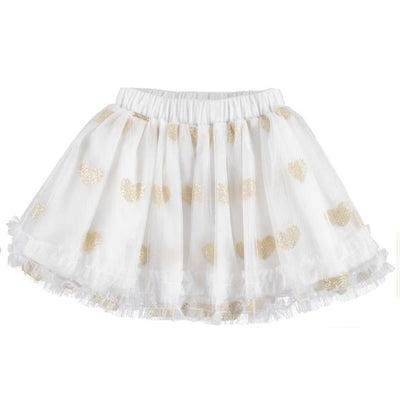Girls Tulle skirt with Glitter Hearts - Junior Couture