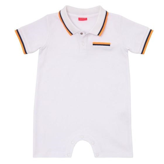 Baby Boys White Pique Onesie - Junior Couture
