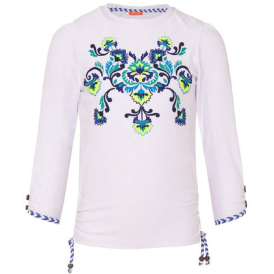 Girls White Peruvian Stitch Rash Vest UPF 50+ - Junior Couture