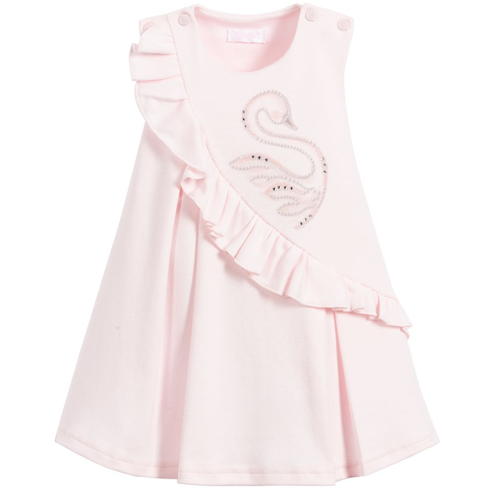 Baby Girls Pink Swan Dress