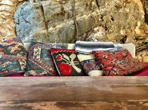 kilim pillow rug covers for a bohemian interior
