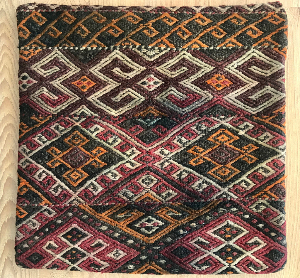 Persian pillow covers: handmade, vintage and 100% unique. Handwoven kilim carpets turned into unique pillowcases.