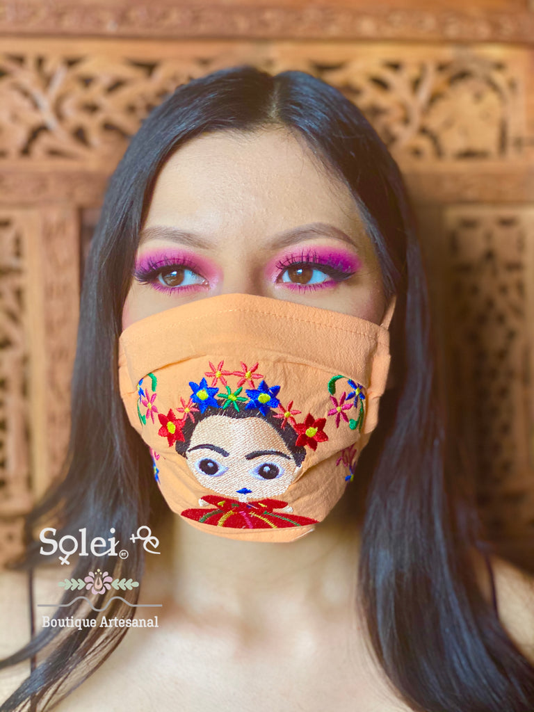 Embroidered Face Masks. Mexican Frida Kahlo Face Mask. Reusable Face Mak. Cute Face Mask. Stylish Face Mask. Mexican Washable Mask.