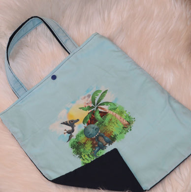 M132 Library tote bag - dino