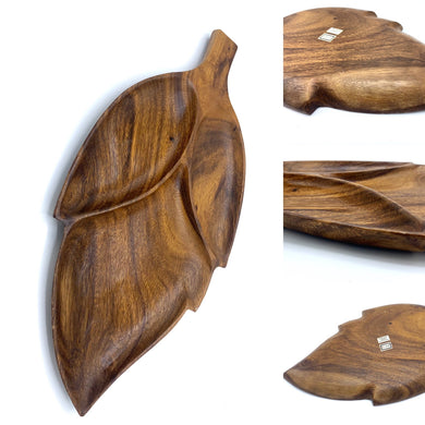 Three part teak wood leaf dish
