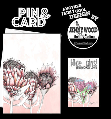 Protea (pin and card