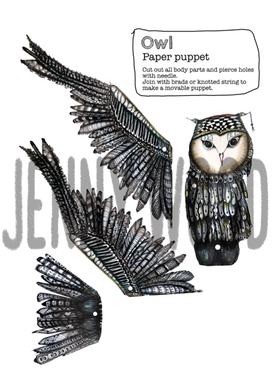 Owl paper puppet