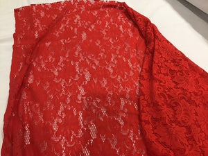 F149 Stretch Red Lace Fabric