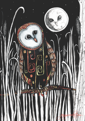 owl and moon (sml card)