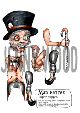 Mad Hatter paper puppet