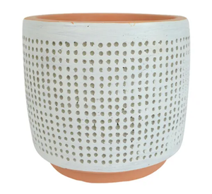 White Dotti Pot (Sml)