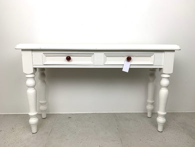 White Console Table Pink Glass
